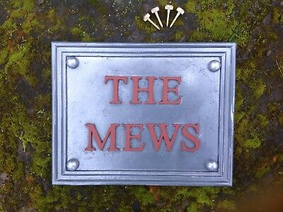"SOLID LEAD HOUSE NAME PLAQUE ""THE MEWS""  highlighted painted letters"