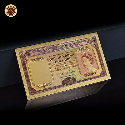 WR 1953 Malaya & British Borneo QEII $100 Colored 24K Gold Banknote Collectibles
