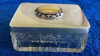 Antique  box silver  crystal Natural Baltic Amber Cabochon Weishaupt ca 1900