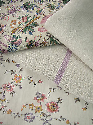 Antique Vintage French printed cottons~ ~ Project bundle ~ purples ~ linen