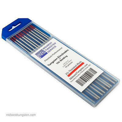 """200 PCS (20 Packs) TIG Welding Tungsten Electrodes 2%Thoriated 3/32"""" x 7"""" Red"""