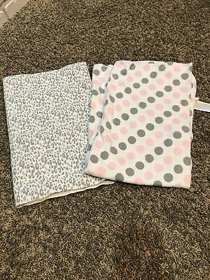 Carter's Receiving Blankets Flannel Baby Girl pink, gray & white