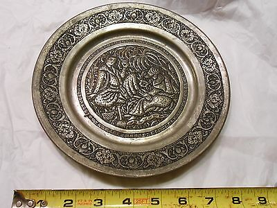 Antique Persian Qajar Isfahan Hand Engraved Tinned Copper Wall Plate Decor
