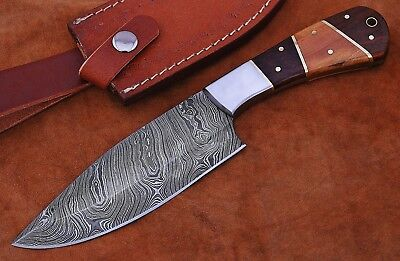 Prime Quality Damascus Steel Olive & Rose Wood Full Tang Hunting Knife W/Case