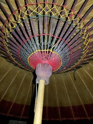 "Antique Large 40"" Rice Paper Oriental Umbrella Parasol Beautiful Vibrant Colors"