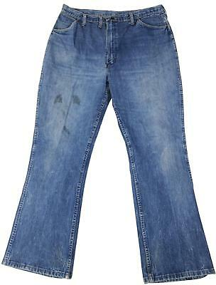 81ed42c4 VTG 70s WRANGLER Bootcut JEANS 42 x 32 Distressed Denim Ideal Zipper Made  In USA