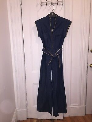 Vintage Bell Bottom Jumpsuit High Waisted Mint- Size Tag 12, Current Day 8 -ish