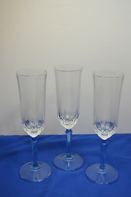 Set of 3 Lead Crystal Blue Stem Champagne Flutes Made in USA