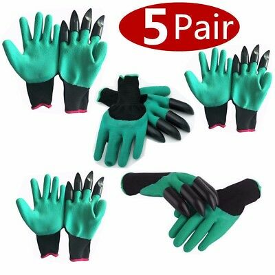 Gardening Genie Gloves Digging with 4 Plastic Claws Garden Polyester Gloves