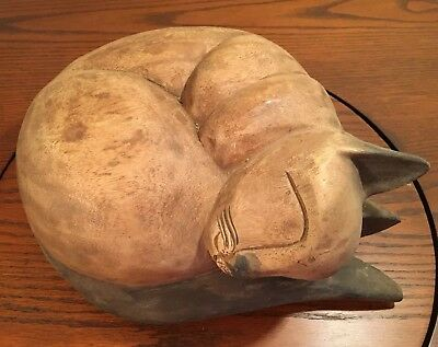 Hand Carved Large Wooden Curled Cat, Cat nap, Home & Office Decor, Heavy