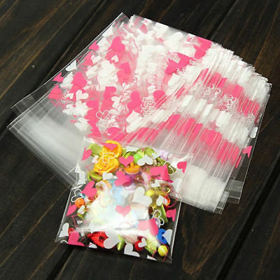 100pcs Self Adhesive Heart Plastic Cookie Candy Package Cellophane Gift Bags