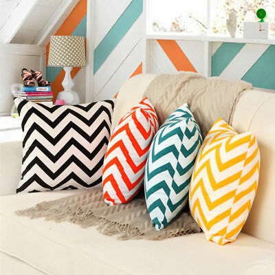 "Cotton CUSHION COVER Chevron Design Striped - Size 18"" x 18"" - BEST QUALITY"