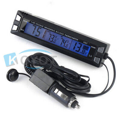 Digital LCD Auto Car Temperature Thermometer&Clock Voltage Meter Monitor 2017RA