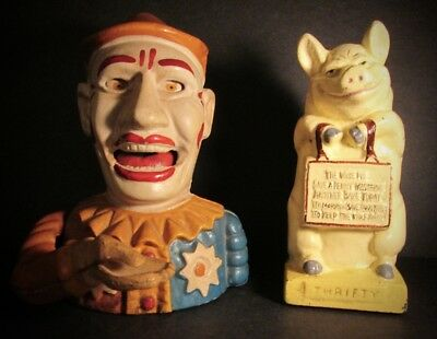 """Two Vintage Cast Iron Banks: """"HUMPTY DUMPTY""""  and HUBLEY """"THRIFTY THE WISE PIG"""""""
