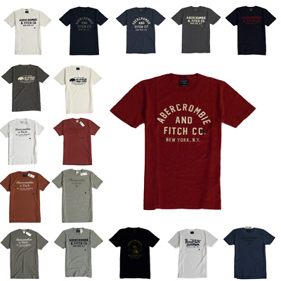 NWT Abercrombie Fitch A&F by Hollister Men's Applique Graphic Logo Tee Shirt