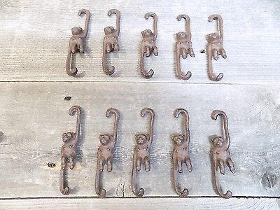 10 Small Cast Iron Monkey Plant Hooks Garden Hooks Hook Rack Hanger Home Decor