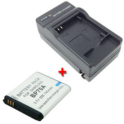 BP-70A Replacement Battery + Charger for SAMSUNG ST700 TL105 TL110 TL205 WP10