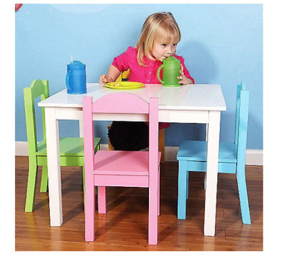 AMISH MISSION Toddler Kids Table and Chairs Set Solid Wood Oak ...