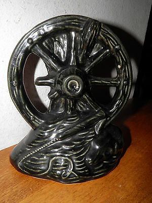Unmarked McCoy Pottery Wagon Wheel Planter Glossy Black Glaze Priced to Sell BIN