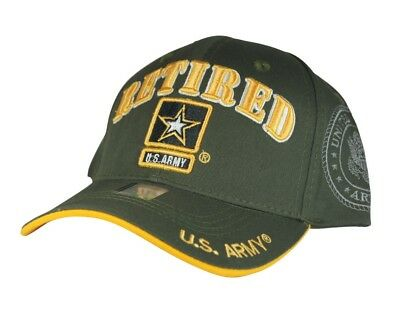 3596a46db43 NWT US ARMY RETIRED STAR 3D EMBROIDERY BASEBALL CAP HAT Adj Back COLOR OLIVE