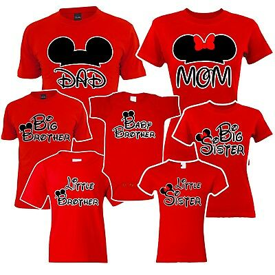 Mom Dad, Big Sister brother Mickey Family Red Matching T-shirts. disney Vacation