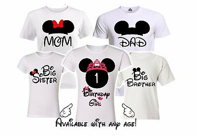 Minnie Birthday Girl Family Matching shirts. disney Vacation Mickey party shirts