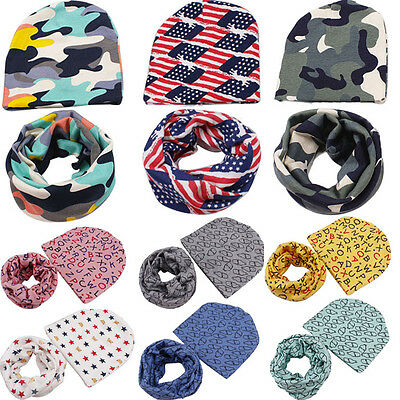 2PCS Fall Winter Warm Baby Girl Boy Toddler Kids Soft Beanie Hat Cap+Snood Scarf