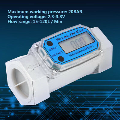 Mini Digital Turbine Flowmeter Diesel Fuel Flow Meter 15-120L 1.5inch NPT Blue P