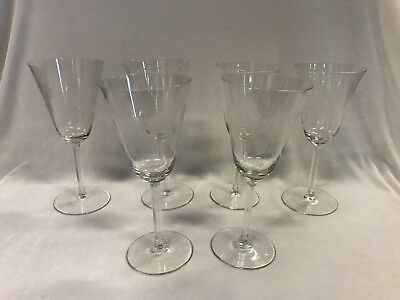 6x Cut Crystal Wine Glasses With Hexagon Stem