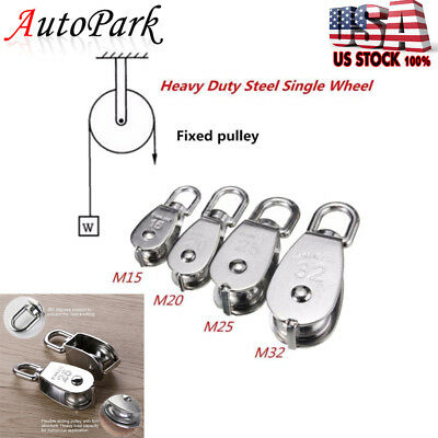 1/5/10xM15/20/25/32 Stainless Steel 304 Single Wheel Swivel Pulley Block Loading