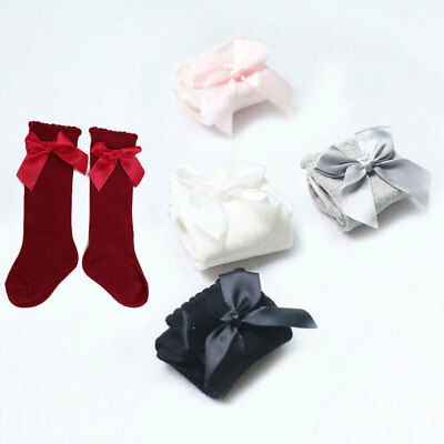Toddler Kid Baby Girl Knee High Long Socks Bow Cotton Casual Stockings 0-4 Years