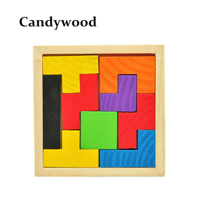 Wooden Tangram Brain Teaser Puzzle Tetris Preschool Game Children Play Wood Toys
