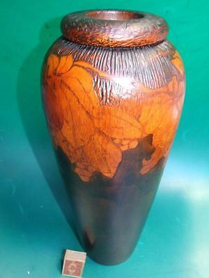 Antique Australian Large Carved & Pokerwork Vase  50cm High C.1920's