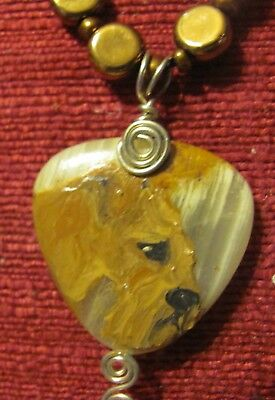 Lakeland Terrier hand painted on triangular wire wrapped pendant/bead/necklace
