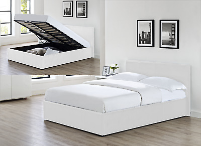 "4'6"" Double Faux Leather Ottoman Gas Lift Up Deep Storage Bed White"