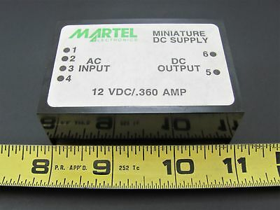 12V .360A - PC Mount Power Supply - Martel 12.360PM-3 *NOS*