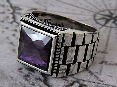 Turkish Ottoman Amethyst Gemstone Solid 925 Sterling Silver Men Ring