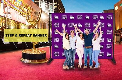 Custom Step and Repeat Vinyl Banner 10'x8' ft 5 people Photo-booth  telescopic