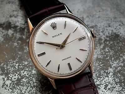 Beautiful 1950's Solid 18ct Gold Full Size Rolex Precision Gents Vintage Watch