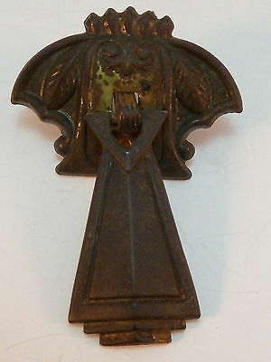 Antique Drop Drawer Pull Tear Drop Brass Mission Eastlake Victorian Marked DES