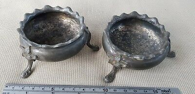 Very Rare pair Beautiful Post Medieval pewter/Once Silvered incense burners L74b