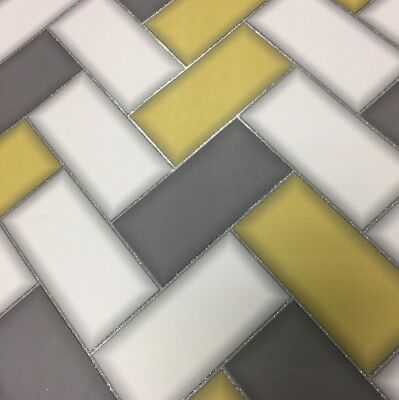 Wallpaper Holden Chevron Tile Glitter 3D Geometric Kitchen Bathroom Yellow 89300