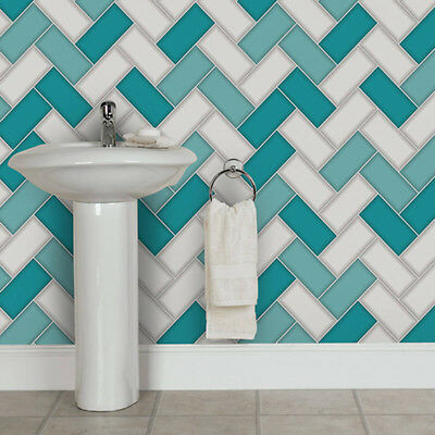 Wallpaper Holden - Chevron Tile Glitter 3D Geometric Kitchen Bathroom Teal 89301