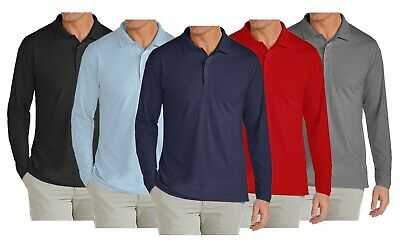 Mens Long Sleeve Long-Tail Polo Shirt Modern Fit Casual 100% Cotton Button NWT