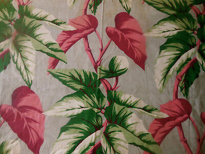 Antique Vintage 40's Tropical Foliage Barkcloth Fabric ~ Green Gray Pink Magenta