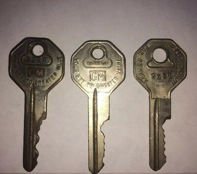 Lot Of 3 Vintage GM Cut Keys Briggs Stratton GM & Rochester Products