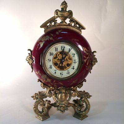 Antique French Farcot Mantle Clock With Matching Candelabra's