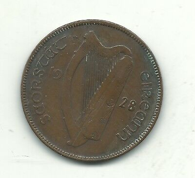 A Vintage Very Nice 1928 Ireland One 1 Penny Coin-Hens- Chicks-Birds-Dec562