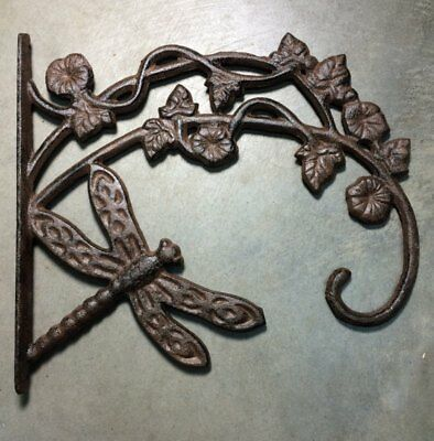 vintage, rustic finish, dragonfly hanger, plant hanger cast iron, set of 2
