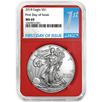 2018 $1 American Silver Eagle NGC MS69 FDI First Label Red Core